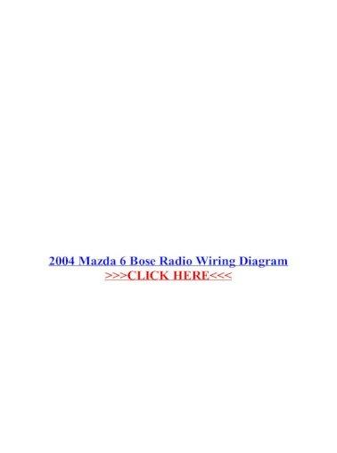 2004 Mazda 6 Bose Radio Wiring Diagram, Mazda 6 Wiring Diagram Pdf