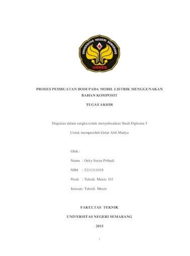 Proses Pembuatan Bodi Pada Mobil Listrik Lib Unnes Ac Id 20653 1 5211311019 S Pdf Proses Pembuatan Bodi Pada Mobil Listrik Menggunakan Bahan Komposit Tugas Akhir Memahami Pdf Document