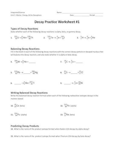 Half Life Worksheet Extra Practice Mrs Williams Life Worksheet Extra Practice 1 Fluorine 21 Pdf Document