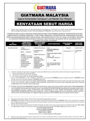 1 Bumiputera Yang Berpengalaman Berkelayakan Dan Satu 1 Kontraktor Hanya Dibenarkan Membeli Pdf Document