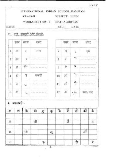 Hindi International Indian School Subject Hindi Dammam Class Il Worksheet Name Sec Red 2 Pdf Document