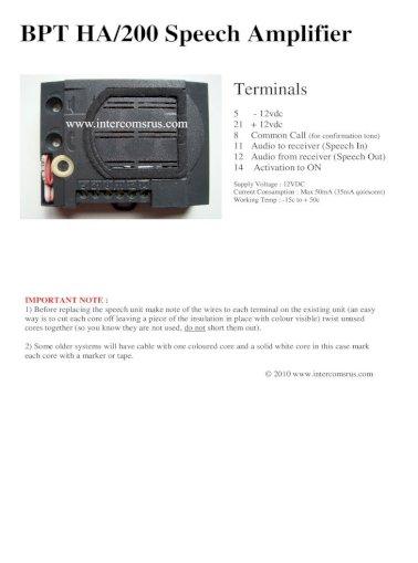 Bpt Ha 200 Sch Amplifier Intercoms, Intercom Wiring Diagram Pdf