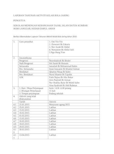 Laporan Tahunan Aktiviti Kelab Bola Jaring Docx Document