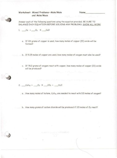 A Chem Worksheets Chapter 10 Limiting Reactants And Mixed Mole Problems