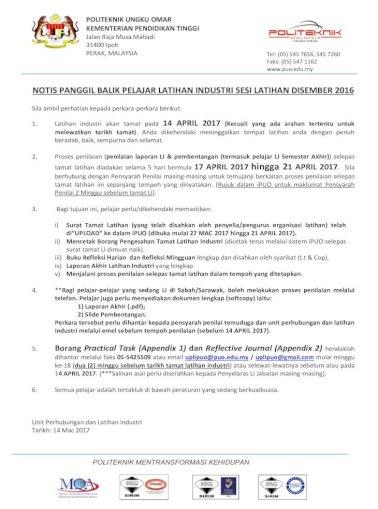 Politeknik Ungku Omar Kementerian Pelajar Notis Panggil Balik Pelajar Latihan Industri Sesi Latihan Disember 201 6 Slide Pembentangan Borang Pengesahan Tamat Latihan Cetakan Pdf Document