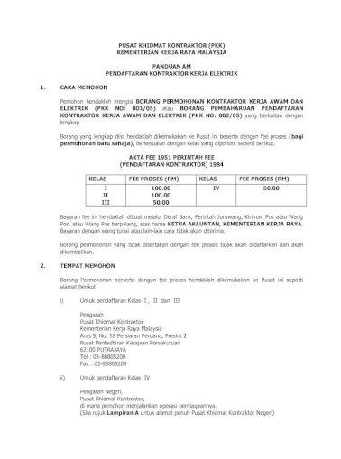 Panduan Am Kontraktor Kerja Elektrik Pdf Document