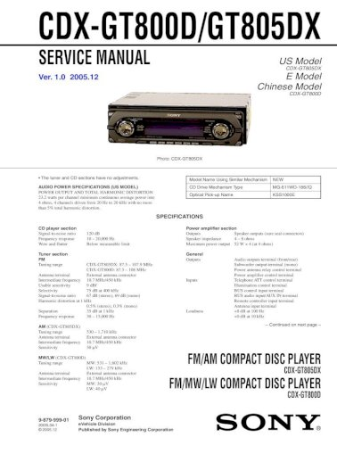 sony cdxgt800d gt805dx  pdf document