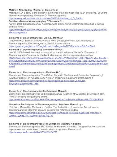 Elements Of Electromagnetics Matthew Sadiku Solutions Of Electromagnetics Matthew Sadiku Solutions Manual Elements Of Electromagnetics Book 10 Available Elements Of Electromagnetics Pdf Document
