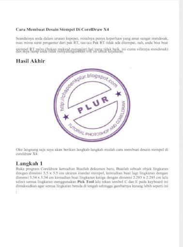 Cara Membuat Desain Stempel Di Coreldraw X4 Docx Pdf Document