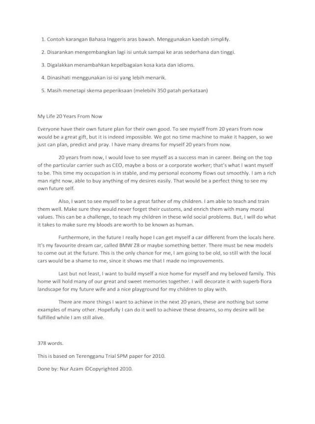 Contoh Karangan Bahasa Inggeris Aras Rendah Pdf Document