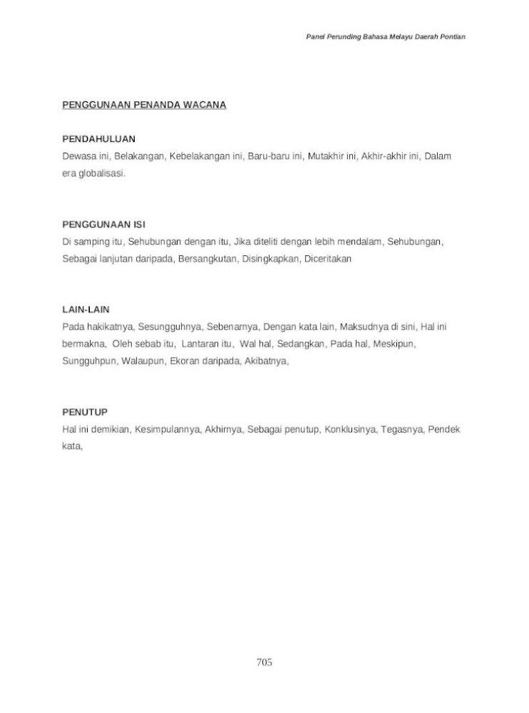 Senarai Penanda Wacana Bahasa Melayu