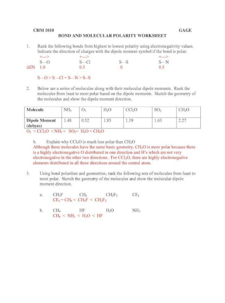 Chm 1010 Gage Bond And Molecular Polarity Bgage Polarity Ans Pdf Chm 1010 Gage Bond And Molecular Pdf Document