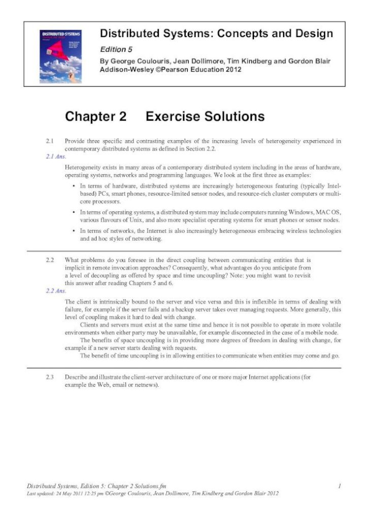 Chapter 2 Solutions Solution Manual Test Bank Distributed Systems 2 2 What Problems Do Pdf Document