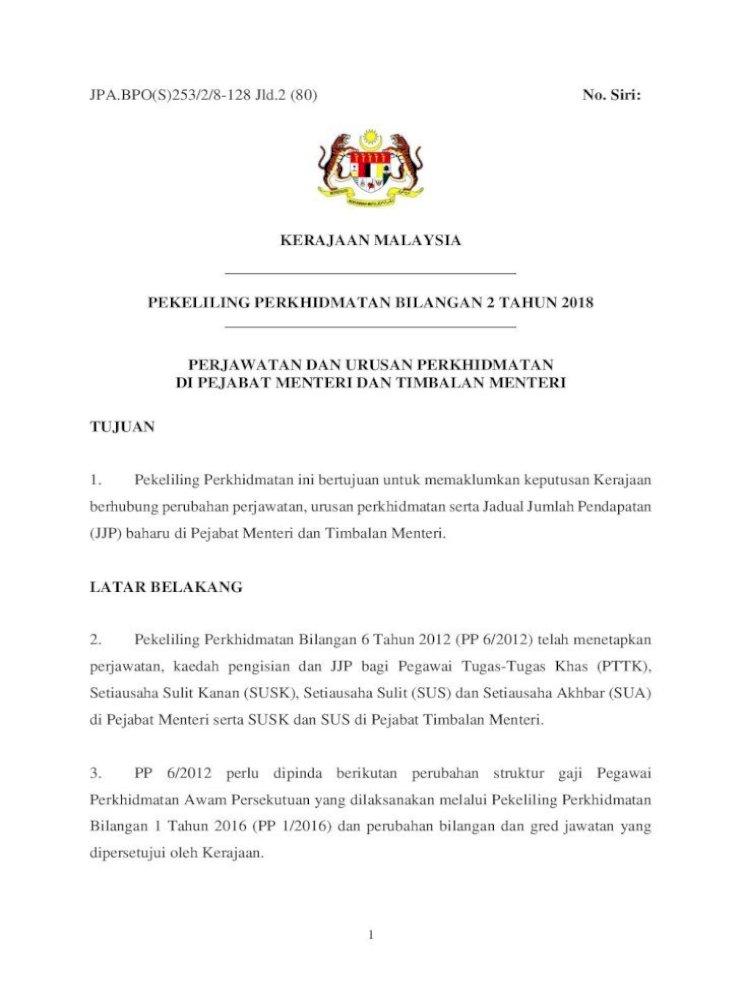 Pekeliling Perkhidmatan Bil 2 Tahun 2018 Docs Jpa Gov Pegawai Tadbir Dan Diplomatik Ptd Pegawai Pdf Document