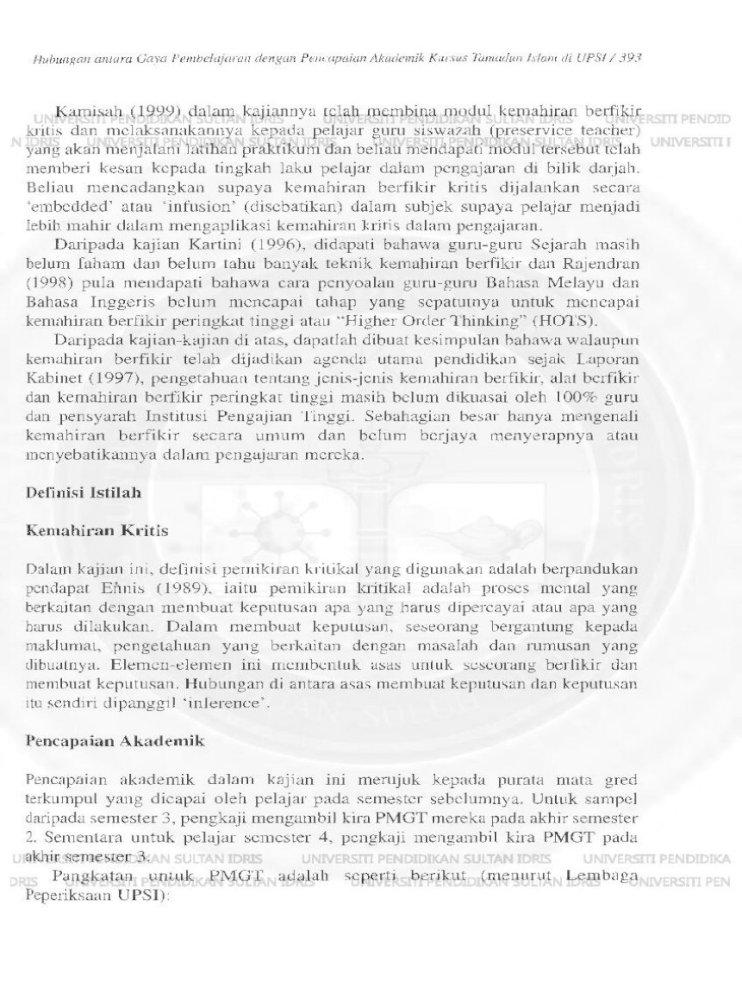 Hubungan Antara Kemahiran Berfikir Kritis Dan Pencapaian Pdf Document